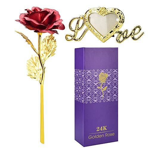 LYTIVAGEN 24K Gold Rose Chapado en Oro Rosa Flores Artificiales con Caja de Regalo y Base Flores Artificial de Hoja 24K Rosa Flor para San Valentín, Día de la Madre, Aniversario, Boda