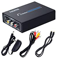 ELEVIEW コンポジット/S端子 to HDMI 変換器 1080p対応 Composite 3RCA AV/S-Video to HDMI コンバーター アナログ アップコンバーター S端子ケーブル 三色ビデオケーブル付き 日本語取説付き【EHD-513N】
