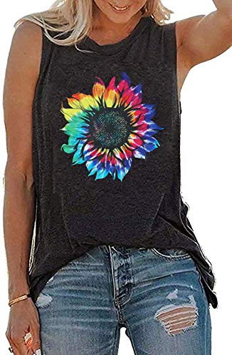 JINTING Summer Sunflower Graphic Tank Tops for Women Graphic Tank Tops Sleeveless Graphic Tee Shirts Letter Print Tank Top
