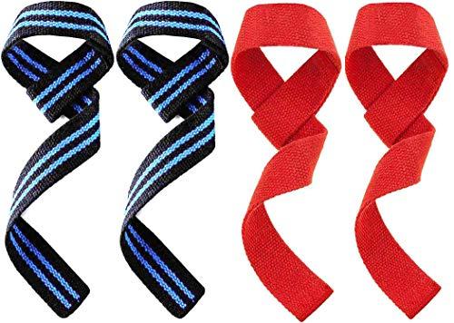 Royalfit 2 Paar (Pair) Profi Zughilfen für Krafttraining, Fitness & Bodybuilding - Lifting Straps aus Baumwolle, für Gewichtheben Powerlifting, Crossfit - für Frauen und Männer