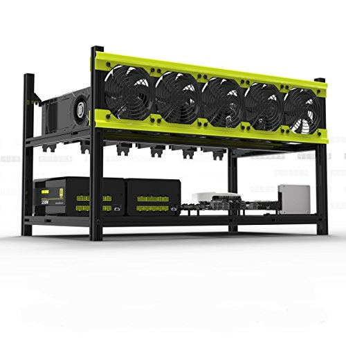 Veddha Professional 6 GPU Miner Case Aluminum Stackable Mining Case Rig Open Air Frame for Ethereum(ETH)/ETC/ZCash/Monero/BTC Excellent air Convection Design to Improve GPU Performance(Without Fan)