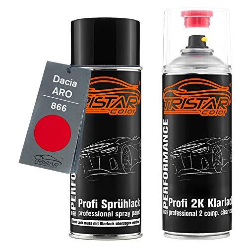 TRISTARcolor Autolack 2K Spraydosen Set für ARO/Dacia 866 Rot Basislack 2 Komponenten Klarlack Sprühdose