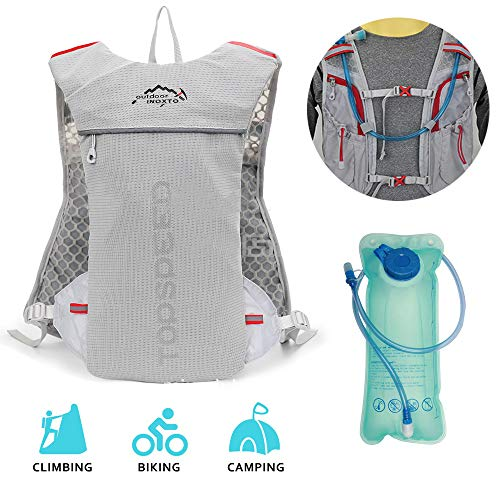 OYOUYI Hydration Pack Backpack,Upgrade Backpack for Hiking,Running Vest Climbing Lightweight Marathon Hydration Water Backpack with Water Bladder 2L,Grey