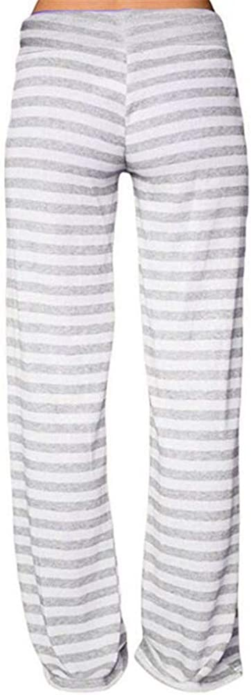 Womens Pajama Lounge Pants Womens Stretch Comfy Striped Drawstring Wide Leg High Waisted Pajama Pants