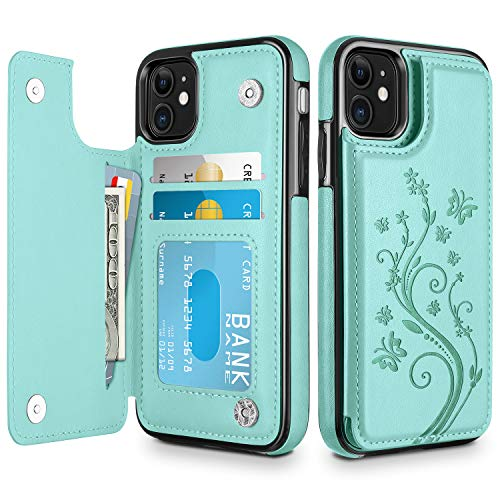 HianDier Wallet Case for iPhone 11 6.1-inch Slim Protective Case with Credit Card Slot Holder Flip Folio Soft PU Leather Magnetic Closure Cover for 2019 iPhone 11 iPhone XI, Green