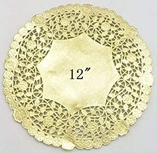 PEPPERLONELY 12 Inch Gold Round Lancaster Paper Doilies 50 Count