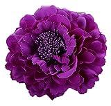 HC-01 Floral Fall Peony Flower Hair Clip Flamenco Dancer Pin up Flower Brooch (Purple)