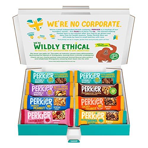 Perkier Bars (8 Pack) Vegan Bars, Gluten Free Bar, Low Calorie Snack, Protein Snack Bar, No Palm Oil