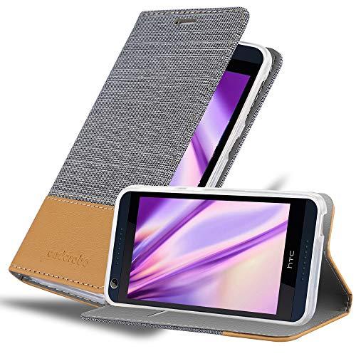 Cadorabo Hülle für HTC Desire 626G - Hülle in HELL GRAU BRAUN – Handyhülle mit Standfunktion und Kartenfach im Stoff Design - Case Cover Schutzhülle Etui Tasche Book