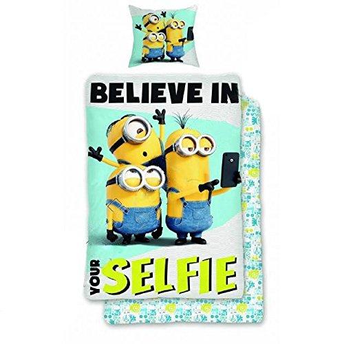Minions Juego de cama Believe In Your Selfie de 140 x 200 cm y 60 x 70 cm.