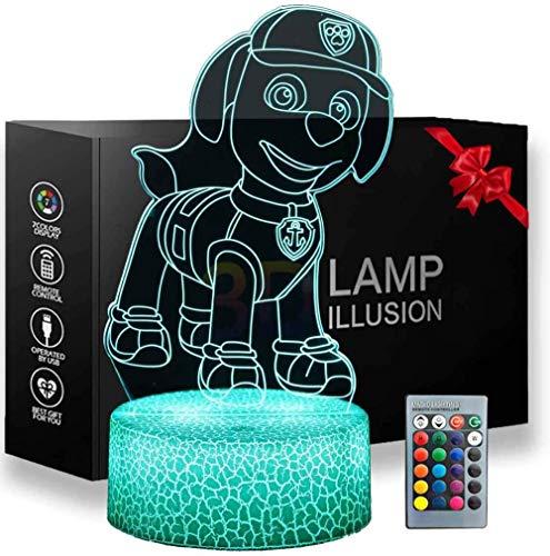 3D ilusión LED luz PAW Patrol Lava Lámparas para niños 16 cambio de color decoración lámpara para niños y habitación decoración