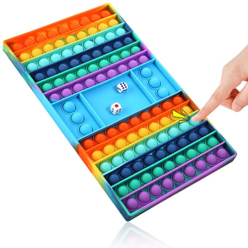 NDESYDAI Big Pop Game Fidget Toy, Fidget Games Rainbow Pop Chess Board Popper Dice Toy, Large Push Bubble Fidget Sensory…