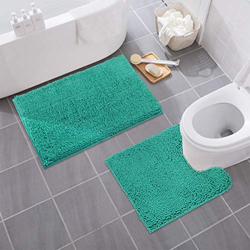 "Mayshine Bathroom Rug Toilet Sets and Shaggy Non Slip Machine Washable Soft Microfiber Bath Contour mat (Turquoise,32"" 20""/20"" 20"" U-Shaped)"
