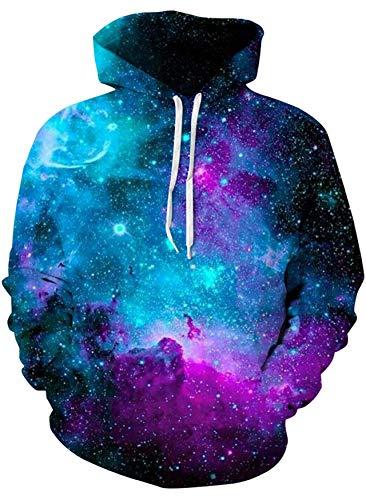 Loveternal Unisex 3D Druck Hoodie Galaxy Kapuzenpullover Coole Langarm Galaxis Pullover Casual Sweatshirt für Frauen Männer XL