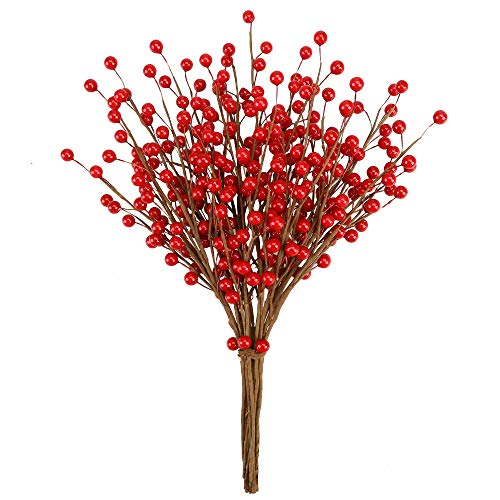 Greentime 12 Pcs Artificial Red Berry Stems, 14 inch Christmas Holly Berry Branches for Christmas Tree Decorations, Crafts, Wedding, Party, Holiday and Home Decor