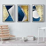 Pintura impresa sobre lienzo pintura abstracta azul oro luna pintura al óleo geometría lienzo póster arte pared para decoración de sala de estar - 40 x 60 cm sin marco