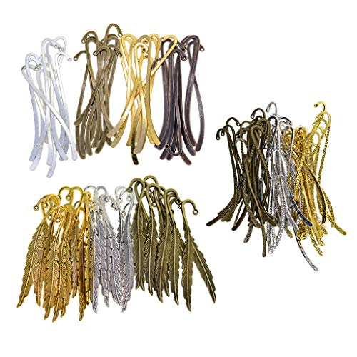 LoveinDIY 130pcs Craft Bookmark Charms Pendants for Crafting, Jewelry Findings Making Accessory for DIY Necklace Bracelet Antique Bronze Silver Gold