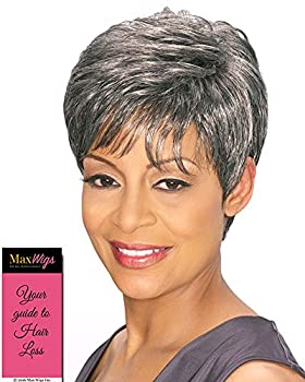 Edna Wig Color 4 Medium Dark Brown - Foxy Silver Wigs Pixie Wispy Fringe Synthetic Straight Layers African American Women s Machine Wefted Lightweight Average Cap Bundle with MaxWigs Hairloss Booklet