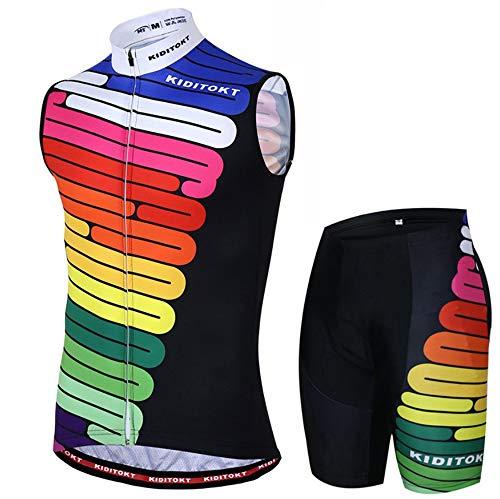 HWQ Senza Maniche Ciclismo Sportswear Tuta Senza Maniche Giacca Estiva + 3D in Silicone Pantaloncini Ciclismo Attrezzatura,XXL
