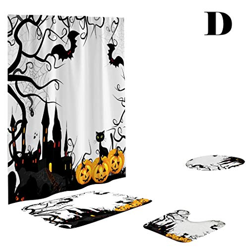 Lemoning Organizers and Storage for Home, Happy Halloween Waterproof Polyester Fabric Shower Curtain Four-Piece