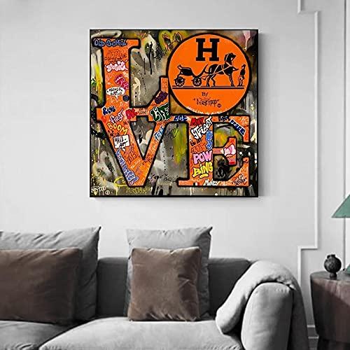 Graffiti Love lienzo pintura pared arte abstracto carta amor carteles e impresiones cuadro de pared para sala de estar decoración del hogar 50x50 CM (sin marco)