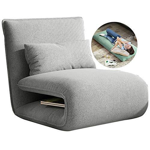 LHn-Cn Comfort, Eleganter Mehrwinkel-Bodenstuhl, Sitzkissen mit Verstellbarer Rückenlehne, Klappstuhl Schlafsessel, Für Zuhause Oder Büro Gray