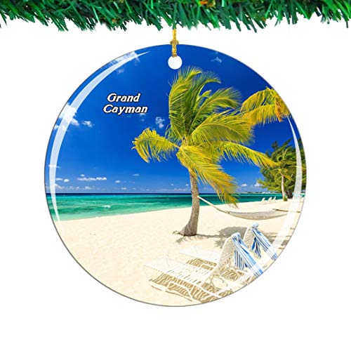 Weekino Seven Mile Beach Grand Cayman UK Christmas Ornament City Travel Souvenir Collection Double Sided Porcelain 2.85 Inch Hanging Tree Decoration