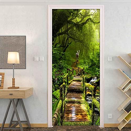 RGAHOT Arte de puerta 3D 88x205cm Bosque virgen verde Pegatinas de puerta PVC Adhesivo Murales Vinilos Decorativos para Guardería Niños Dormitorio Puerta Pared Cocina Sala de Baño