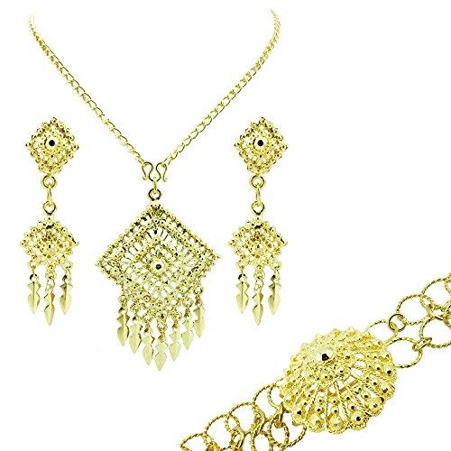 siwalai tailands tradicional chapado en oro collar pendientes cinturn joyera Set