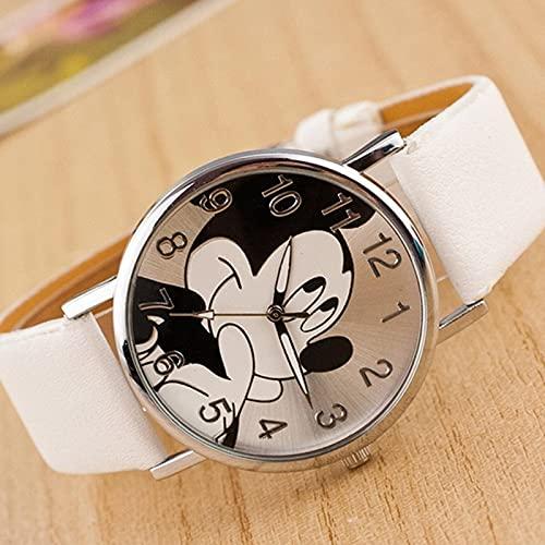 Relojes Reloj De Dibujos Animados DeModaBear Minnie Reloj De Mujer Relojes De Dibujos Animados De Niño Reloj De Pulsera De Cuarzo Unisex De Cuero De Imitación Blanco