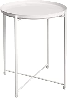 597281c5b1e1 HollyHOME Tray Metal End Table, Sofa Table Small Round Side Tables,  Anti-Rust