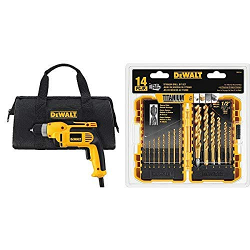 DEWALT DWD110K 8.0 Amp 3/8-Inch VSR Pistol Grip Drill Kit with Keyless Chuck with DEWALT DW1354 14-Piece Titanium Drill Bit Set