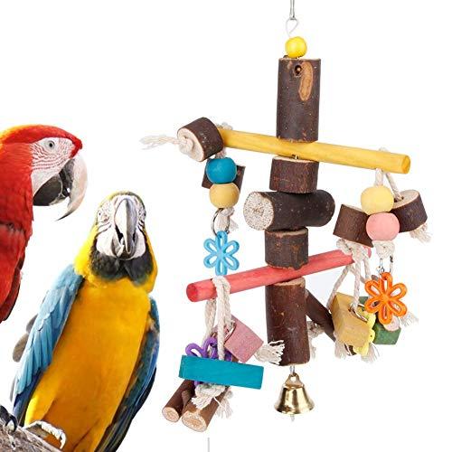 AYCPG Pájaro Colgando Juguetes con Campana Parrots Coloridos Masticar Juguete con Gancho de pie Swing Decoración de Madera Cuerda de algodón de Madera Accesorios para pájaros lucar