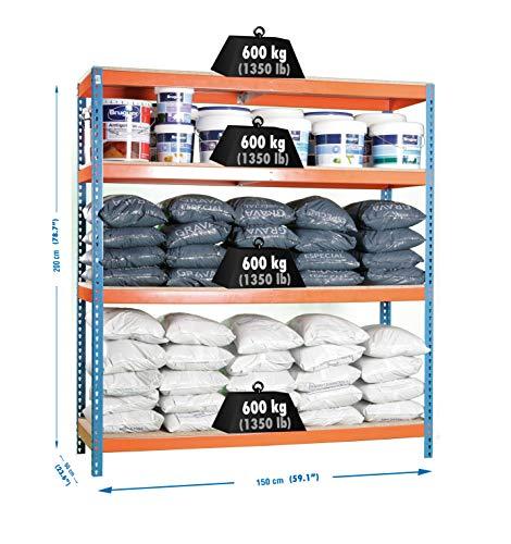 Simonrack Simonforte 1506-4 Chipboard Metal Naranja, Azul, Madera natural - Estanterías para el hogar (4 estanterías, Metal, Naranja, Azul, Madera natural, 600 kg, 9 min, Estantes de rejilla)