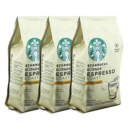 Starbucks Blonde Espresso Kaffee, 3er Set, Blonde Roast, Röstkaffee, Samtig und Süß, Ganze Bohnen, 3 x 200 g