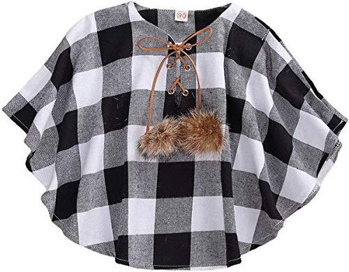 Carolilly Baby Kleinkind Winter Weste Umhang mit Buffalo Plaid Ärmellose Jacke Mantel Oberteil