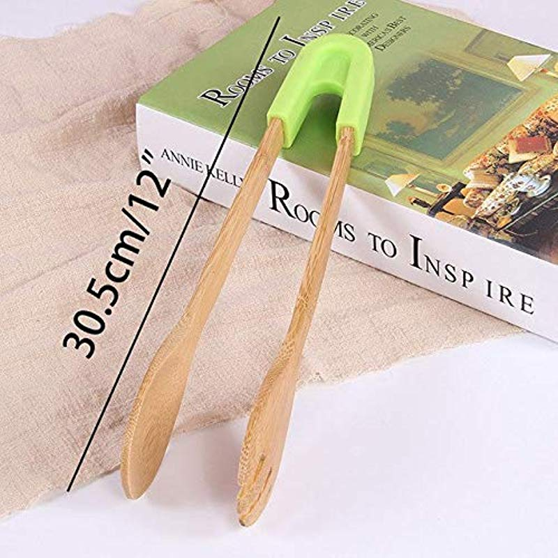 Unknown Bamboo Kitchen Utensils Wood Kitchen Utensils Tongs For Cooking Tongs Cooking Baking Salad Vegetable BBQ Tongs Tool Silicone Baking Bread Clip Kitchen Barbecue Accessories 1 Round Green