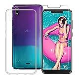 HHUAN Coque Wiko View 2 Go (5.93') Transparente TPU + (Verre trempé en Film Protecteur) Clear Cover Case Souple de Protection...