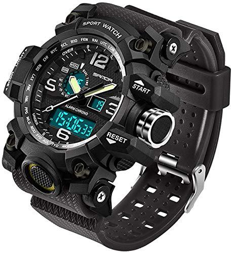 Relógio masculino para esportes ao ar livre à prova d'água, multifuncional, visor duplo, cronômetro, militar, relógio de pulso tático, Alicate de corrida, Preto, Large