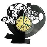 Reloj de pared con diseño de Mickey y Minnie Mouse, de vinilo, estilo retro, para decorar el hogar, ideal como regalo para novio, hombre, vinilo, decoración para el hogar, pared inspiradora