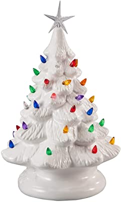 "14"" Retro Prelit Ceramic Tabletop Christmas Tree With 52 Multicolored Lights (White)"