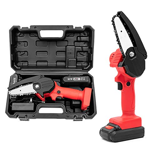 Lidayuan Mini Chainsaw, Handheld Cordless Chainsaw,4-inch 21v Cordless Chainsaw,Electric Chainsaw Rechargeable Lithium Battery Chainsaw Suitable for Wood Cutting,Red