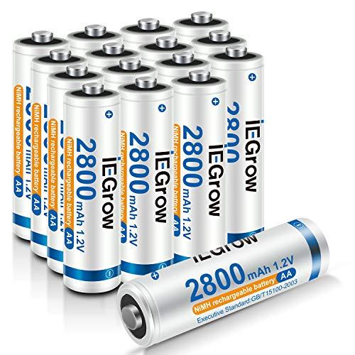 iEGrow Batterie AA Ricaricabili ad Alta Capacità 2800mAh Ni-MH, Bassa Autoscarica, confezione da 16 Piles AA da 1.2V