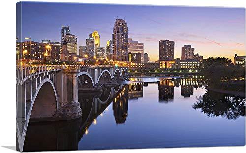 ARTCANVAS Minneapolis Minnesota Bridge and Skyline Canvas Art Print - 26' x 18' (0.75' Deep)