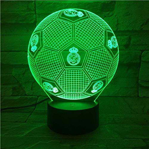 3D Nachtlicht Real Madrid Fußball Illusion Tischlampe LED 7 Color Touch Fernbedienung Farbwechsel Stimmungslampe USB Home Schlafzimmer Nachttischlampe