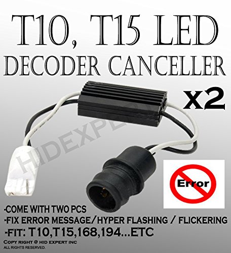 ICBEAMER for T10 T15 168 194 LED Wiring Adapter Load Resistor Decoder Anti Fast Flashing Resistor [Pack of 4 pcs]
