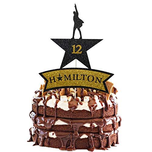 Hamilton Cake Topper 12, Glitter American Musical Happy 12th Birthday Cake Topper for Boy Girl 12th Hamilton Birthday Party Decorations