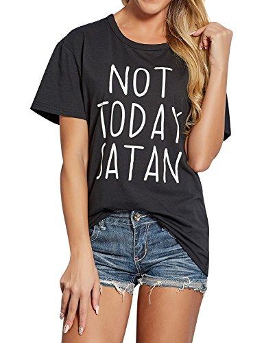 Nlife Letter Print Nicht Heute Satan Casual Kurzarmshirt T-Shirt
