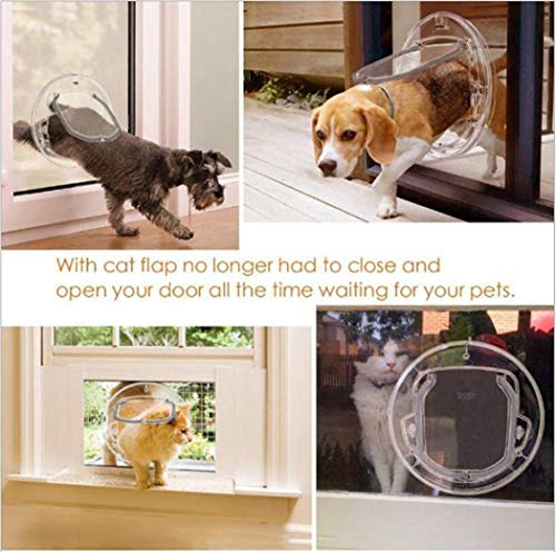 Tragbare Haustier bagDog Flap Große 4 Way Locking Klassische Katzenklappe Microchip Easy Install Transparent Tunnel Extender for alle Haustiere, L ccgdgft (Size : L)
