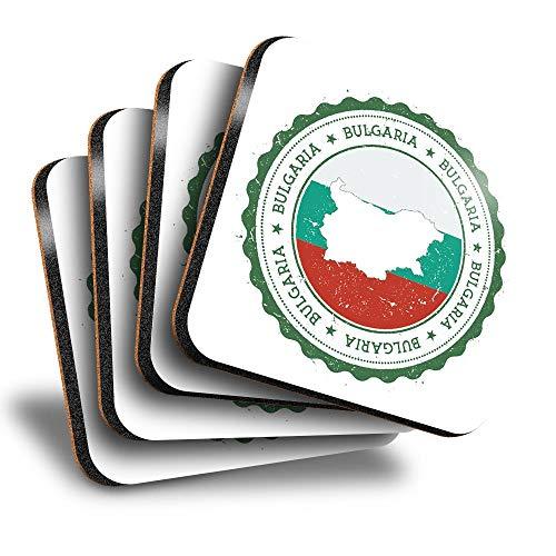 Destination Vinyl ltd Great Posavasos cuadrados (juego de 4) – Bandera de la iglesia de Bulgaria Sofía – Posavasos brillantes/protección de mesa para cualquier tipo de mesa #7954